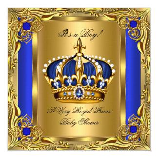 Prince Royal Blue Baby Shower Regal Gold Boy 5.25x5.25 Square Paper Invitation Card