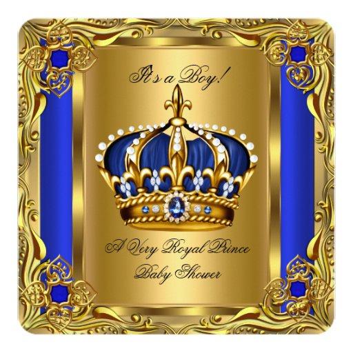 prince royal blue baby shower regal gold boy invitation zazzle