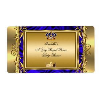 Prince Royal Blue Baby Shower Regal Gold Boy Label