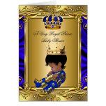 Prince Royal Blue Baby Shower Regal Gold Folded Card