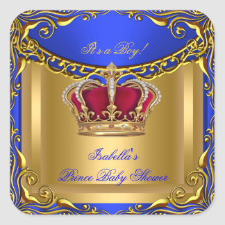 Prince Royal Blue Baby Shower Regal Red Gold Boy 3 Square Stickers