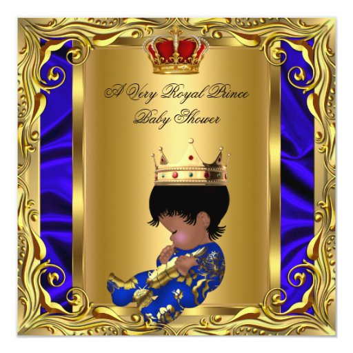 Prince Royal Blue Baby Shower Regal Red Gold Boy 5 Invites