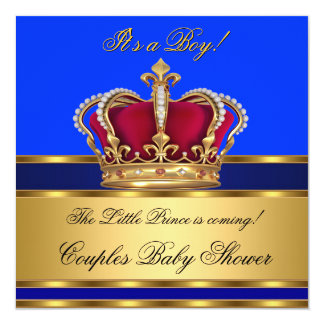 "Prince Royal Blue Boy Baby Shower Crown 5.25"" Square Invitation Card"