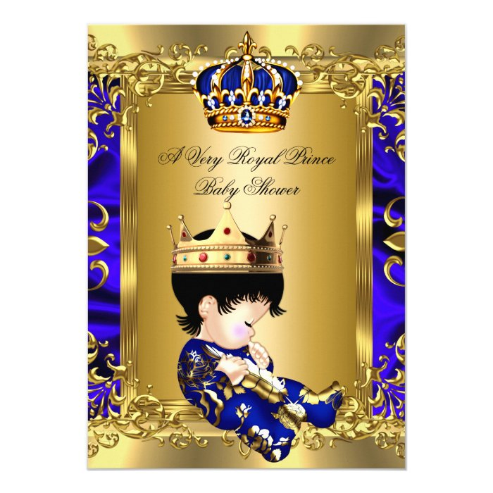 prince royal blue boy baby shower regal gold 2a card | zazzle, Baby shower invitations
