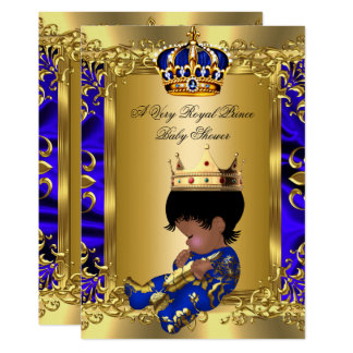 Prince Royal Blue Boy Baby Shower Regal Gold Card