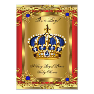 Prince Royal Blue Boy Baby Shower Regal Red Gold 2 Personalized Invites