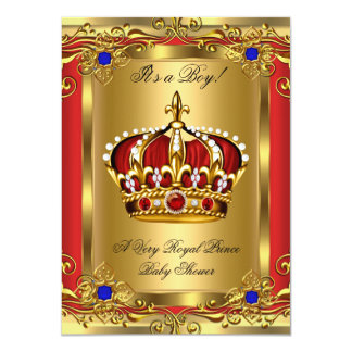 Prince Royal Blue Boy Baby Shower Regal Red Gold 3 4.5x6.25 Paper Invitation Card