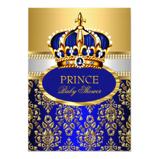 Prince Royal Blue Crown Baby Shower Invitation