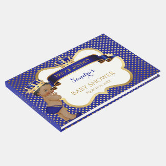 Prince Royal Blue Gold African American Baby Boy Guest Book