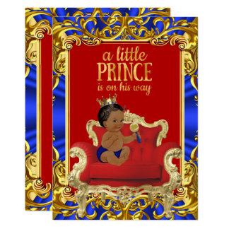 Prince Royal Blue Red Throne Baby Shower Ethnic Card