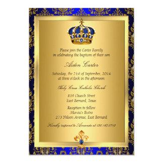 Prince Royal Blue Regal Crown Baptism Invite