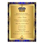 "Prince Royal Blue Regal Crown Baptism Invite 5"" X 7"" Invitation Card"