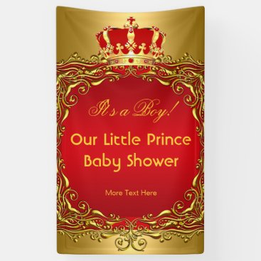 Toddler & Baby themed Prince Royal Gold Red Crown Baby Shower Boy Banner