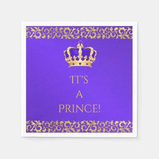 Prince Royal Purple & Gold Crown Paper Napkin