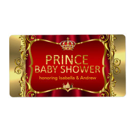 Prince Royal Red Baby Shower Gold Boy Label