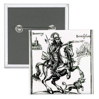 Prince Rupert on Horseback 2 Inch Square Button