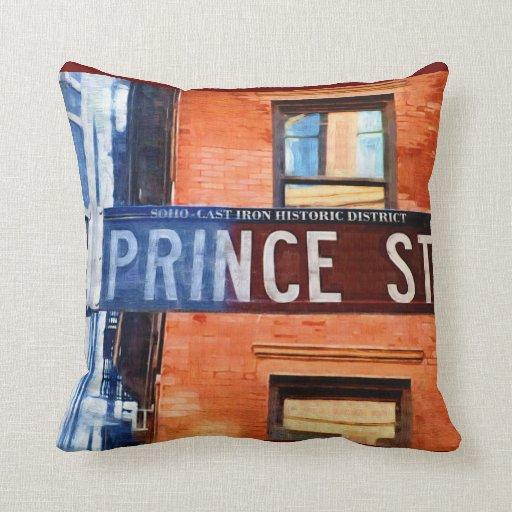 Prince Street Sign NYC Pillow