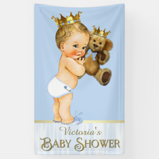 Prince Teddy Bear Baby Shower Banner
