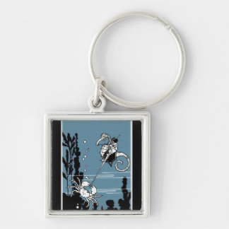 Prince & The  Seahorse Silver-Colored Square Keychain