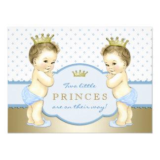 "Prince Twin Boy Baby Shower 5.5"" X 7.5"" Invitation Card"