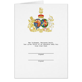 Prince William and Duchess Catherine Coat of Arms Card