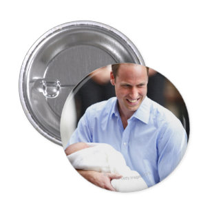 Prince William Holding Newborn Son 2 Button