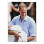 Prince William Holding Newborn Son 2 Greeting Card