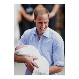 Prince William Holding Newborn Son 2 Poster