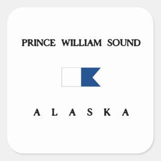 Prince William Sound Alaska Alpha Dive Flag Square Sticker