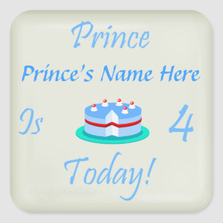 Prince (Your Name) is Four Today Stickers
