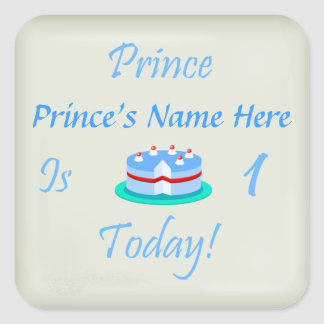 Prince Your Name is One Today Square Sticker