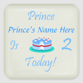 Prince (Your Name) is Two Today Square Stickers