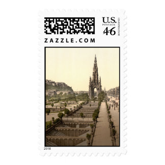 Princes Street, the Castle, and Scott Monument Postage Stamp