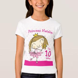 Princesa 10mo cumpleaños de la edad 10 de la playera