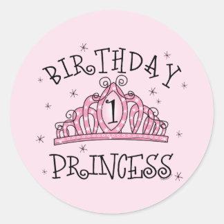 Princesa 1r cumpleaños de la tiara pegatina redonda