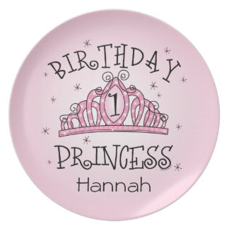 Princesa 1r cumpleaños de la tiara platos de comidas
