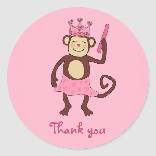 Princesa 1r cumpleaños del mono pegatina redonda