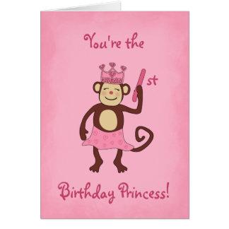 Princesa 1r cumpleaños del mono tarjetón