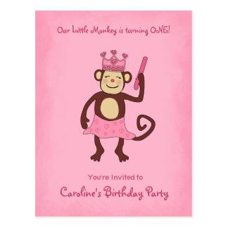 Princesa 1r cumpleaños del mono postal