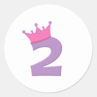 Princesa 2 con la corona etiqueta redonda