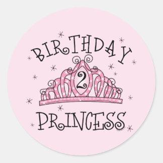 Princesa 2do cumpleaños de la tiara pegatina redonda