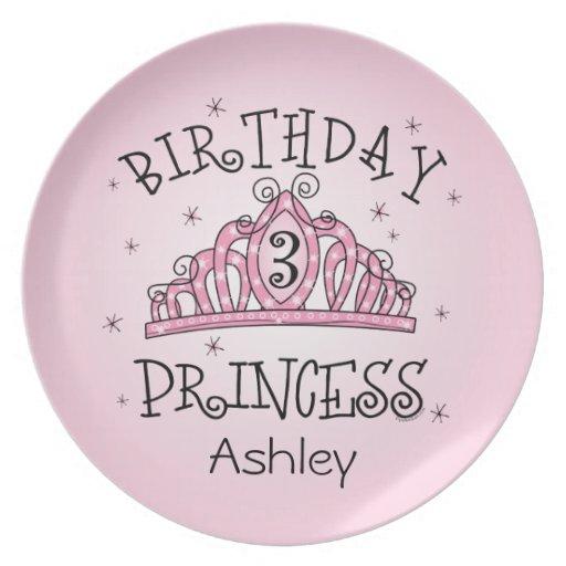 Princesa 3ro cumpleaños de la tiara plato de cena