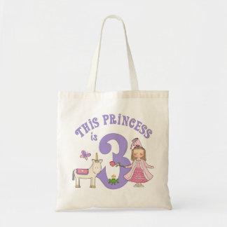 Princesa 3ro cumpleaños del unicornio bolsa tela barata