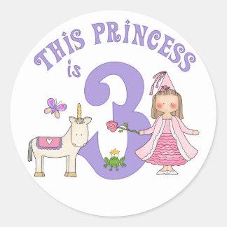 Princesa 3ro cumpleaños del unicornio pegatina redonda