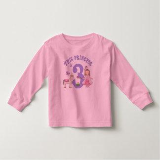 Princesa 3ro cumpleaños del unicornio playera de bebé