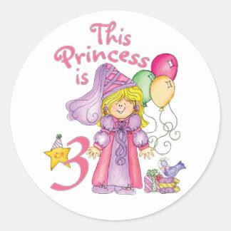 Princesa 3ro cumpleaños pegatina redonda