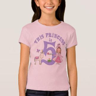 Princesa 5to cumpleaños del unicornio playera