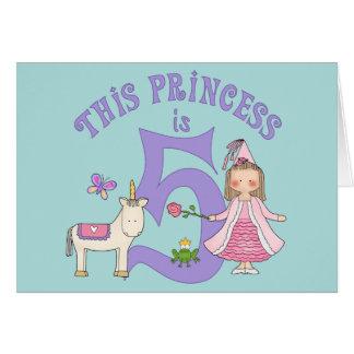 Princesa 5to cumpleaños Inviitation del unicornio Tarjeta Pequeña
