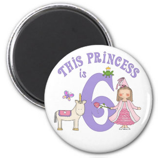 Princesa 6to cumpleaños del unicornio imán redondo 5 cm