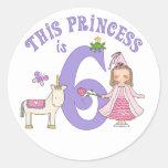 Princesa 6to cumpleaños del unicornio etiquetas redondas